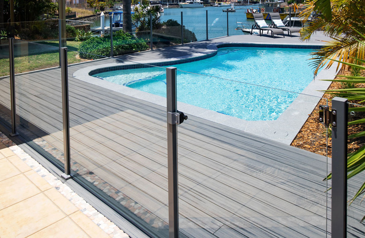 glass pool fence posts